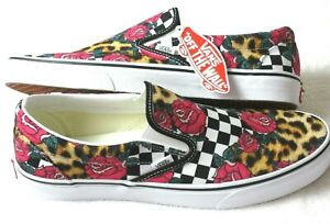 Vans Mens Classic Slip On Roses Animal Print Checker Canvas Shoes Size 9.5 NWT