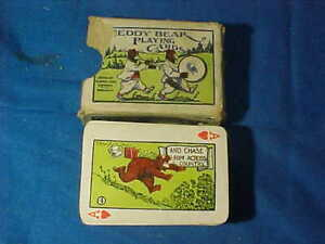 Early 20thc TEDDY BEAR Miniature PLAYING CARD DECK w CARTOON Illustrations