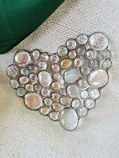 Heart Shaped Glass Stone Candy, Trinket Dish Artisan Made