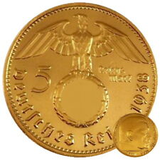 +++ 5 Reichsmark 1936 mit HK - 24 Karat vergoldet +++