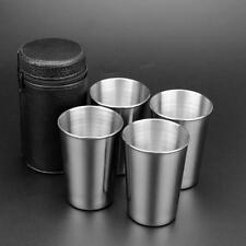 4Pcs Stainless Steel Mini Cup Mug Drinking Coffee Beer Tumbler Camping Travel Q