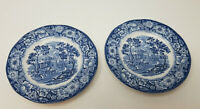 Vintage Liberty Blue Monticello Plate Staffordshire Set 2 Salad Bread Dessert 6""