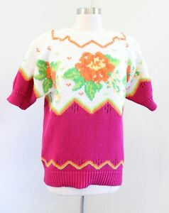 Vtg 90s Cute Pink Orange Chunky Knit Floral Sweater Size M Cottage Cottagecore