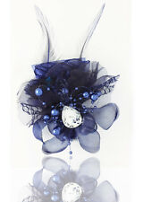 Headdress Flower Feather Rhinestone Hair Pin Brooch Clip Party Wedding Navy
