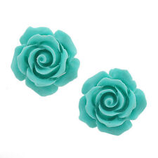 Fashion Jewelry Coral Turquoise blue 925 Sterling Silver Stud Earrings