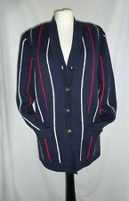 Blue Red &White Vintage COUNTY JERSEY Chunky Wool Mix Cardigan Jacket M/L