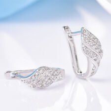 Fashion Anique Women White Gold Filled Hoop Earrings Swarovski Crystal Jewelry