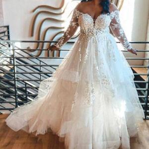 Plus Size Wedding Dresses Off the Shoulder Lace Applique Ruffles Long Sleeves