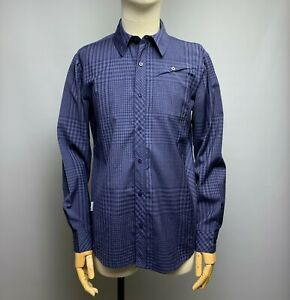 ICEBREAKER Merino Wool Plaid Shirt Size M Men's Blue Checked Long Sleeve Top