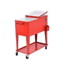 80 Quart Rolling Steel Cooler Portable Cooler w/ Bi-Fold Lid Outdoor Patio Deck