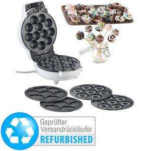Rosenstein & Söhne 3in1-Donut-, Cupcake- und Cakepop-Maker, Versandrückläufer