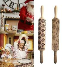 Christmas Embossed Rolling Pin Engraved Carved Wood Baking Cake Dough Roller