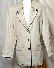 Steinbock Tyrol/Austria Women 6 Linen Blend Jacket Beige Button Front Pockets