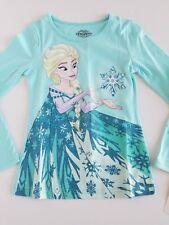 Disney Frozen Girls Top Long Sleeve Graphic ELSA Magical Cape Aqua (2 Sizes) NEW