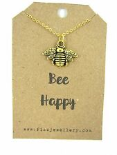 """Be Bee Happy Gold 18""""  Necklace on Card With a Quote Necklace New Great Gift"""