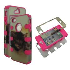 Hybrid 3 / 1 Pink Kitty Cat Apple Iphone 4 , 4S , 4G Cover Case