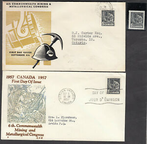 1957 #373 5¢ MINING 2 DIFFERENT FIRST DAY COVERS  F-VF + MINT NH STAMP
