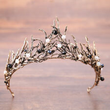 Baroque Antique Tiara Black White Crystal Pearl Beads Pageant Crown Wedding Prom