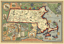 Midcentury Pictorial Massachusetts Map Geneology Wall Art Poster Vintage History
