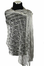 B82 Metallic Glitter Thread Silver Mermaid Open Weave Boutique Shawl Scarf