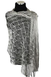 Metallic Glitter Thread Silver Mermaid Open Weave Boutique Shawl Scarf B6