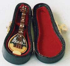Mandolin in Case, Dolls House Miniature 1/12 Scale Musical String Instrument