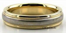 Zweifarbig Gold Hochzeit Bänder 10000 Weiß & Gelbgold Gebürstete Oberfläche
