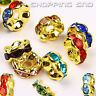 RUBYCA Czech Crystal Gold Wavy Rondelle Spacer Charms Metal Beads Jewelry Making