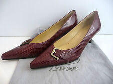 JOAN & DAVID Circa Burgundy Red Leather Snake Print Stiletto Heeled Court Shoes