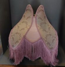 PINK VICTORIAN BROCADE PANELED FRINGED LAMPSHADE LARGE