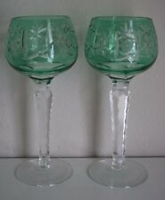 Bohemian Light Green Crystal Sun and Cluster Wine Goblets Set of 2