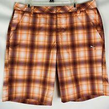 Puma Men's Sport Lifestyle shorts size 36 orange white plaid poly blend