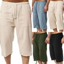 Mens 3/4 Long Length Shorts Half Pants Jogger Sport Gym Summer Casual Trousers