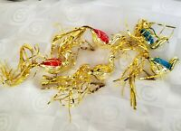 Mercury Glass Clip On Birds Gold Tinsel Tails Christmas Ornaments