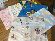 Mickey Mouse Disney Babies Wrapping Paper Walt Disney 1 1/2 Sheets Extra VTG