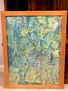 VINTAGE HAND PAINTED WATERCOLOR INK ON PAPER NUDES W/BEAUTIFUL FRAMING w/GLASS