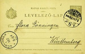 HUNGARY 1908 5f ST. STEPHEN'S CROWN POSTAL CARD, BUDAPEST TO GONNINGEN GERMANY