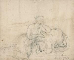 ELMA MARY GOVE (1832-1921) Antique Pencil Drawing - 1864 - AMERICAN ARTIST -