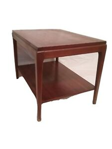 Vintage LANE RHYTHM Mid Century Modern Walnut End Table Side Two Tiered # 997-45