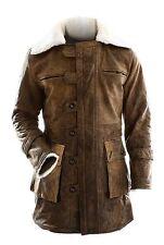 Dunkler ritter Rises Bane Echtleder Polieren Braun Graben Stylisch Mantel Jacke