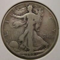 1921-S WALKING LIBERTY HALF DOLLAR RARE KEY DATE US SILVER COIN