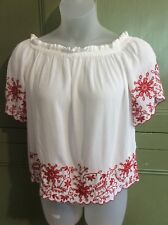 M&S Collection Uk12 Eu 40 Gypsy Top Soft With Embroidered Detail Summer Casual