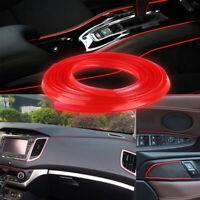 Red 16.4ft 5m Car Interior Door Crack Edge Line Insert Molding Trim Strip Decor