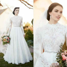 High Neck White/ivory Wedding dress Bridal Gown custom size 6-8-10-12-14-16-18+
