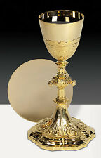 Holy Family Ornate Traditional Chalice with Plain Scale Paten Set