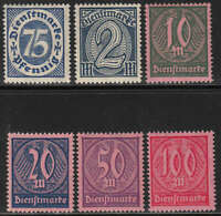 Stamp Germany Official Mi 069-74 Sc O14.5,8-21 Dienst Reich Empire Germania MH