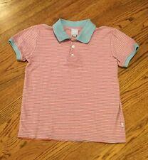 Bella Bliss boys short sleeve polo shirt light blue pink size 8