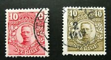 Sweden-1910-10 & 40 Ore Gustav V issues-Used