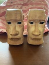 Vintage Otagiri Pottery Salt Pepper Set Easter Island Head Hawaii Kai Tiki