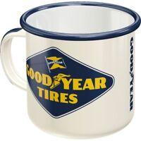 GOODYEAR original Emaille Tasse Kaffeetasse Mug Becher Tee Haferl Reifen Tires